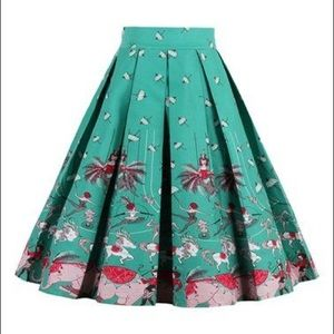 Like New Pleated Skirt in Retro Circus Print